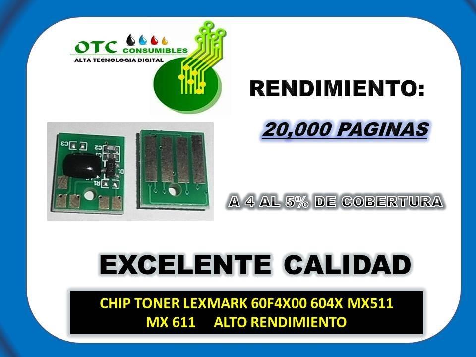 Chip Toner Lexmark 60f4x00 604x Mx511 Mx611 Alto