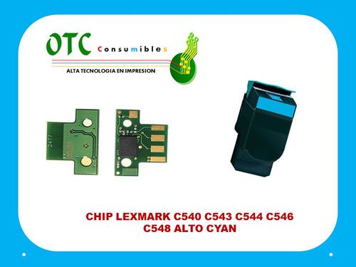 chip toner lexmark c540 c543 c544 c546 c548 alto cyan 6k