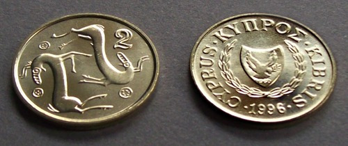 chipre - moneda 2 centavos de libra 1996 - pre-euro ¡ s/c.!