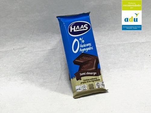 choc. haas semi amargo 0%* 70grs - sello adu - diabetes