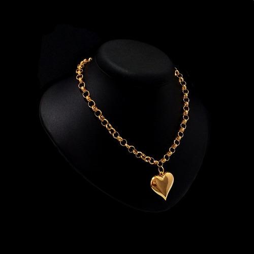 chocker colar gargantilha e pingente coração banhado a ouro