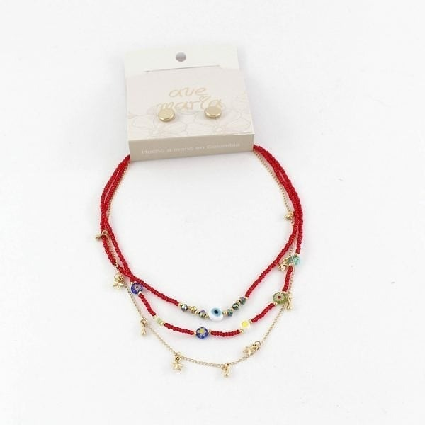 7808804f0e96 Chocker Rojo De Ojitos + Aretes Antialérgicos -   30.000 en Mercado ...