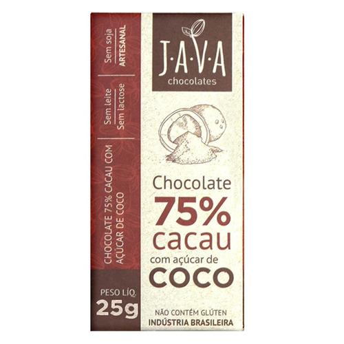 chocolate 75% cacau c/ açúcar de coco vegano 25g java