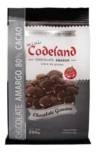 chocolate amargo  80 % mini codeland x 200 grs