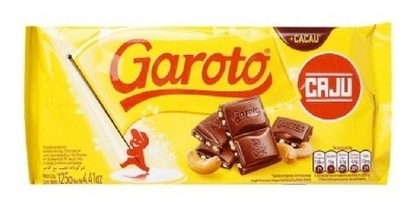 chocolate garoto tableta con castañas del caju 125grs