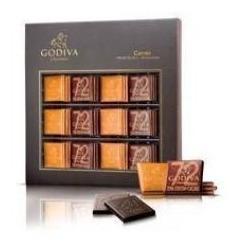 chocolate godiva carres milk & 72% dark 250 gr