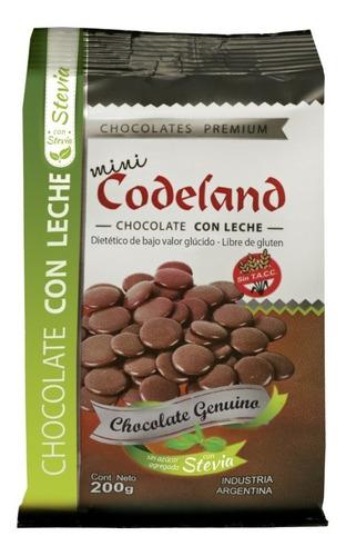 chocolate sin azúcar agregada con leche mini codeland x 2oo