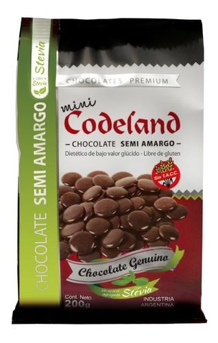 chocolate sin azucar semi amargo mini codeland x 200 grs