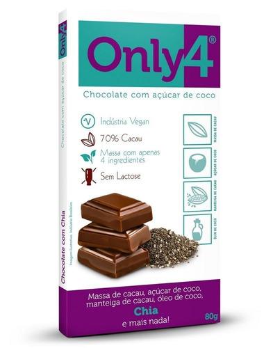 chocolate vegano 70% cacau chia only4 80g