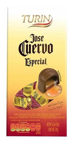 chocolates importados turin jose cuervo, rellenos de tequila