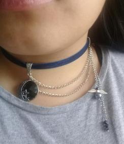 d8c7eba0 Choker-collar De Terciopelo Azul, Cadenas Y Dijes