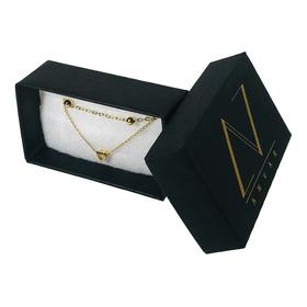 Choker Doble Corazon Y Bolitas Chapa De Oro 18k