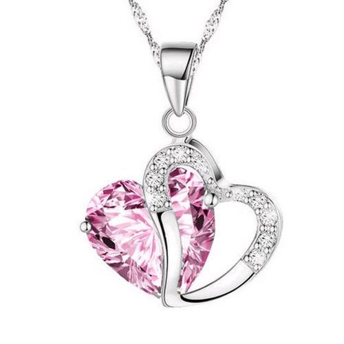 choker gargantilha colar coração cristal rosa brilhante