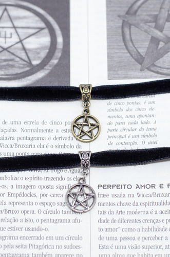 choker gargantilha coleira veludo pentagrama estrela gotica