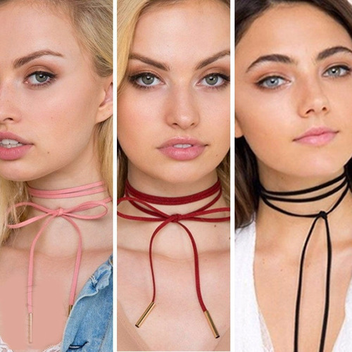 choker necklace 2016 fashion leather layers mujeres chicas