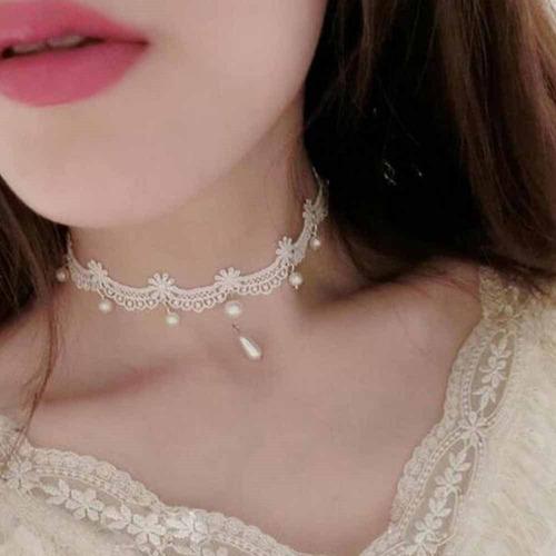 choker necklace tecido renda kit c/5 colares frete grátis