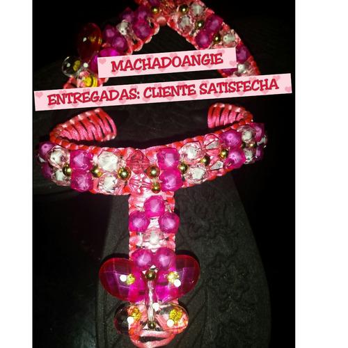 cholas de gomas decoradas con bisuteria sandalias