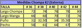 chompa doble impermeable hombre k2 talla 36 v.fosf doble k14