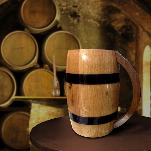 chop barril cerveza madera roble 1 litro 18 x10 cm