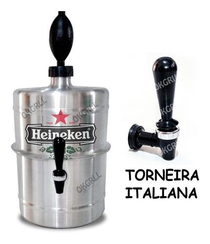 chopeira portátil 5,1 l aluminio heineken torneira italiana