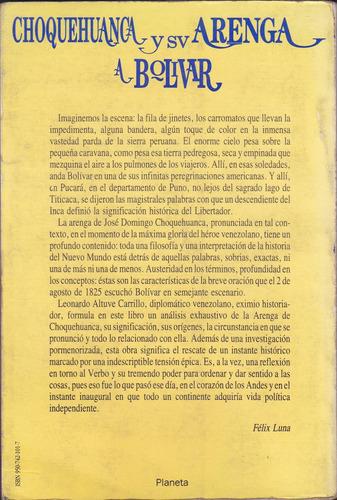 choquehuanca y su arenga a bolívar / leonardo altuve c.