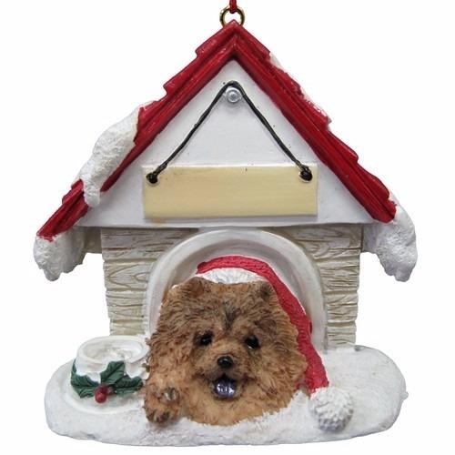 chow chow casita de perro - adorno navideño ceramica