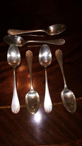 christofle antiguo 6 cucharas postre baño plata exc modelo