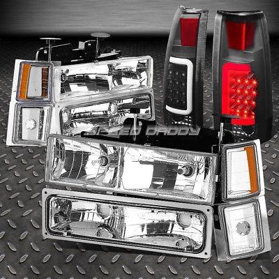 BLACK 8PC HEADLIGHT+BUMPER+CORNER+RED 3D LED TAIL LIGHT FOR GMT400 CHEVY C10 C//K