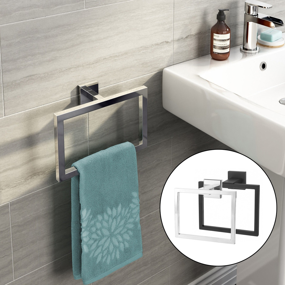 Chrome Modern Cuarto De Baño Accesorios De Pared Square Toal