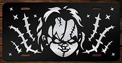 chucky cara frontal de vanity license plate tag kce076