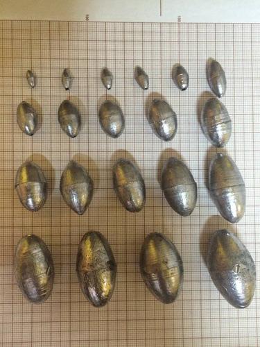 chumbadas p/ pesca bola e oliva embalagem c/ 01 kg. r$ 16,99