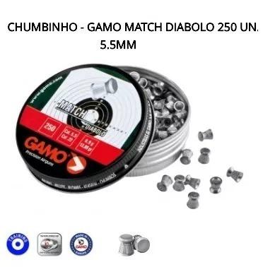 chumbinho gamo match 5.5 mm com 250 unidades 5 latas