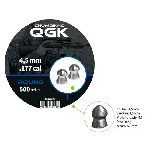 chumbinho qgk 4,5 mm round 500 pellets/pote