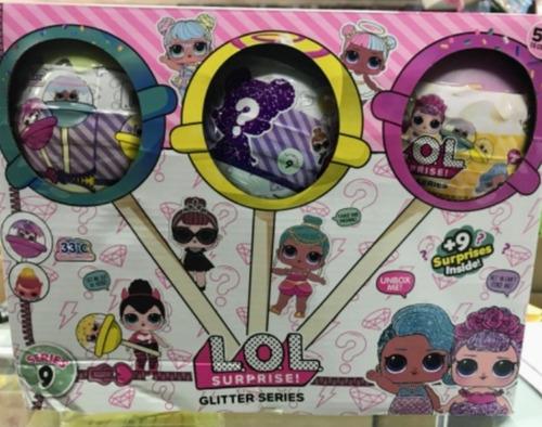 chupeta lol surprise glitter muñeca +9 accesorios 3 unidades