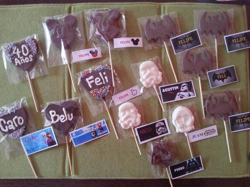 chupetín chocolate minnie mickey personalizado, souvenir