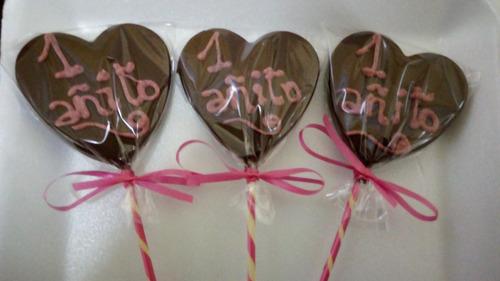 chupetín corazon personalizado en riquisimo chocolate