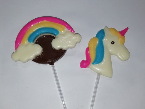 chupetines de chocolate. arco iris. 10 unid. candy bar