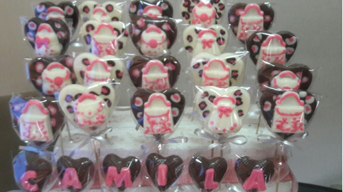 chupetines de chocolate carteras zapatos print souvenirs