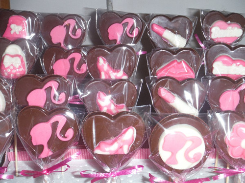 chupetines de chocolate de barbie carteras zapatos labial