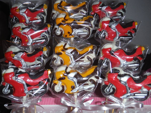 chupetines de chocolate de motos