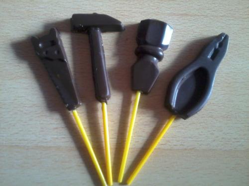 chupetines de chocolate herramientas martillo destornillador