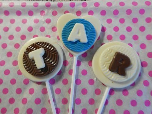chupetines de chocolate souvenir baby shower x 10 candy bar