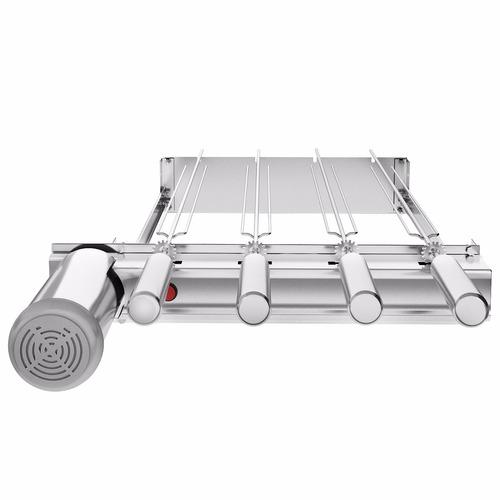 churrasqueira 100% inox gira grill baixo 4 espetos giratório