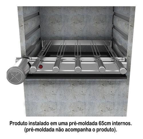 churrasqueira 100% inox gira grill baixo 5 espetos giratório