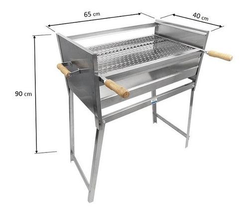 churrasqueira aço inox 65x40 churrasco família grande barato
