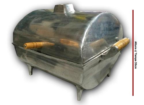 churrasqueira assar bafo alumínio polido grande c/ grelha