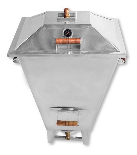 churrasqueira bafo grande inox + kit gás + termômetro brinde