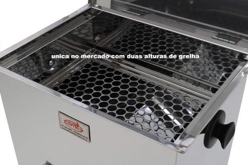 churrasqueira à bafo inox m kit gás + termômetro +  brindes