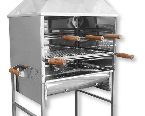 churrasqueira carrinho 3 espetos + grelha aço inox churrasco