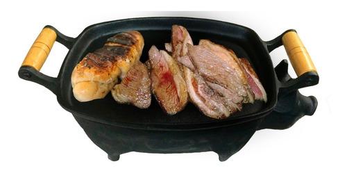 churrasqueira chapa porquinho 42cm ferro fundido
